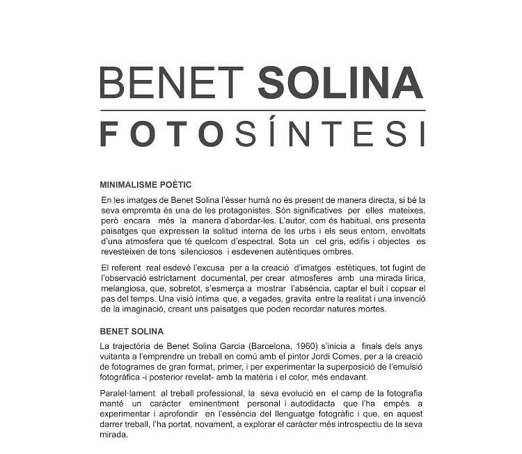 Fotosintesi de Benet Solina en Carmetas Cafe